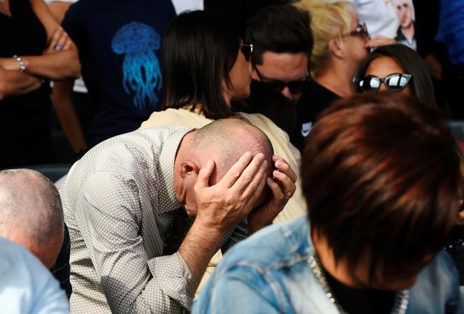 Cérémonie d'hommage aux victimes de l'effondrement du pont Morandi, à Gênes, le14août.