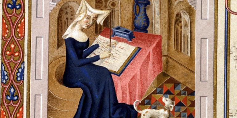 Portrait de Christine de Pisan (ou Pizan) écrivant - Miniature, XVème siècle.