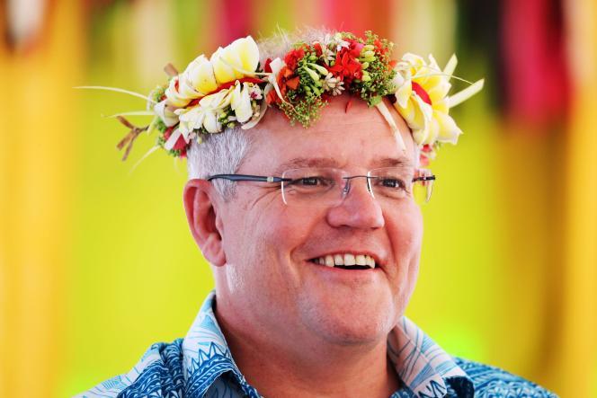 Scott Morrison, le premier ministre australien, lors de son arrivée auForum des îles du Pacifique, le 14août2019 à Tuvalu.