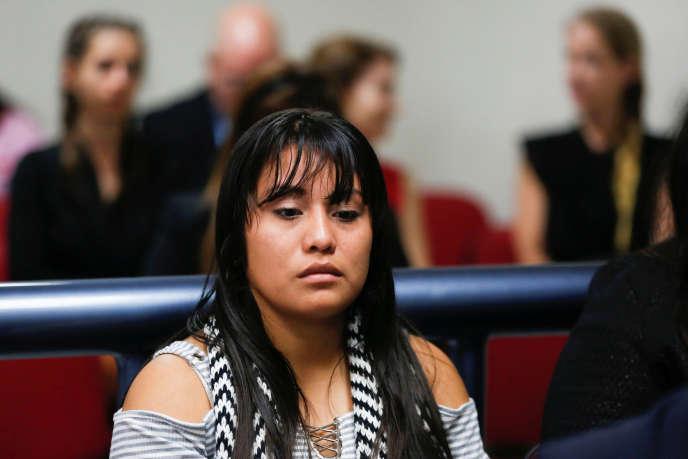 Evelyn Hernandez lors d'une audience àCiudad Delgado, au Salvador, le 15 août.