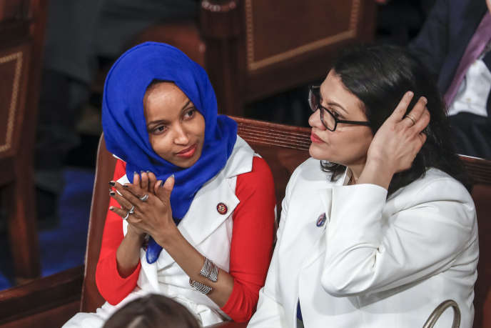Les élues Ilhan Omar (gauche) et Rashida Tlaib (droite) au Capitole, à Washington, le 5février dernier.