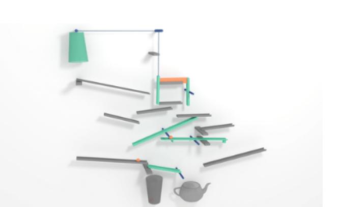 Un exemple de machine de Goldberg dont le plan précis a été optimisé par un algorithme.