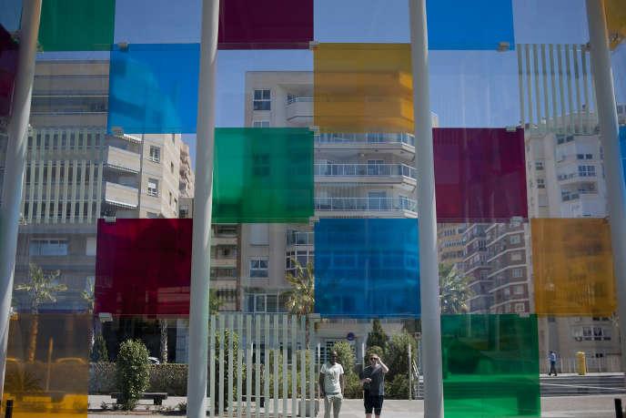 La façade colorée du Centre Pompidou Malaga, en mars 2016.