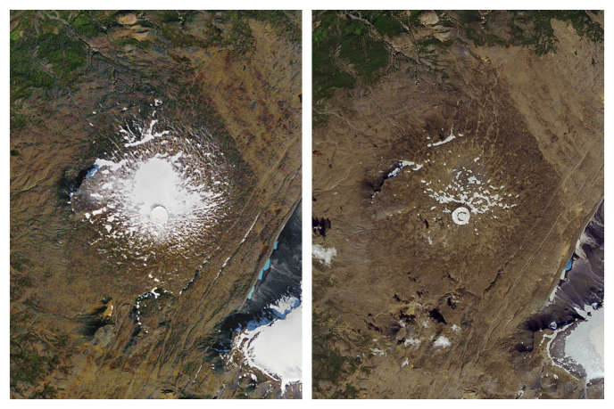 Images satellites du glacier Okjökull le 14 septembre 1986 (à gauche) et le 1er août 2019 (à droite).