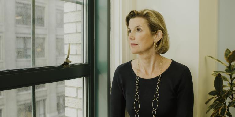 Sallie Krawcheck dans son bureau de Chelsea, à Manhattan, le 8 mai.