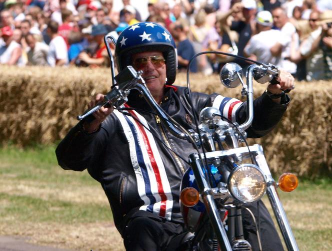Peter Fonda sur une réplique de sa moto dans « Easy Rider», le 5 juillet 2009.