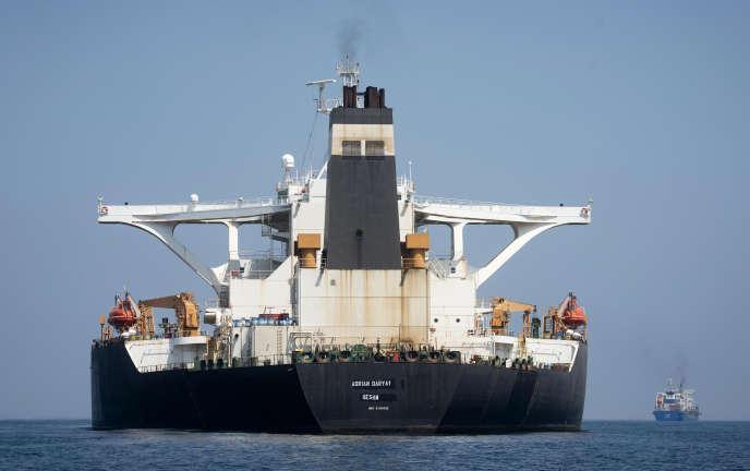 L'«Adrian-Darya1», anciennement nommé «Grace1», au large de Gibraltar, le 17août.