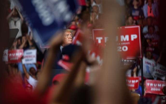 Donald Trump lors d'un meeting qui a fait salle comble à Manchester, dans le New Hampshire, le 15 août.