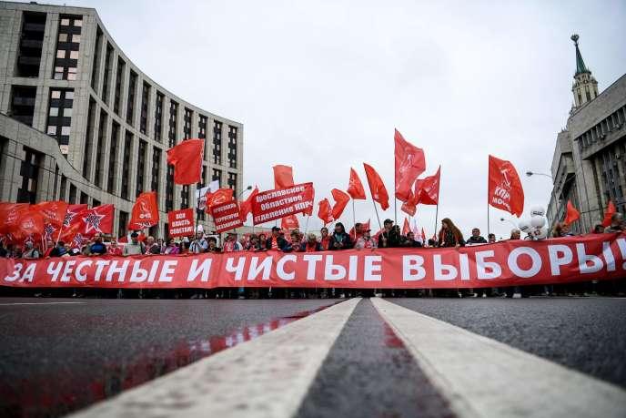 Rassemblement de communistes dans le centre de Moscou, le 17 août.