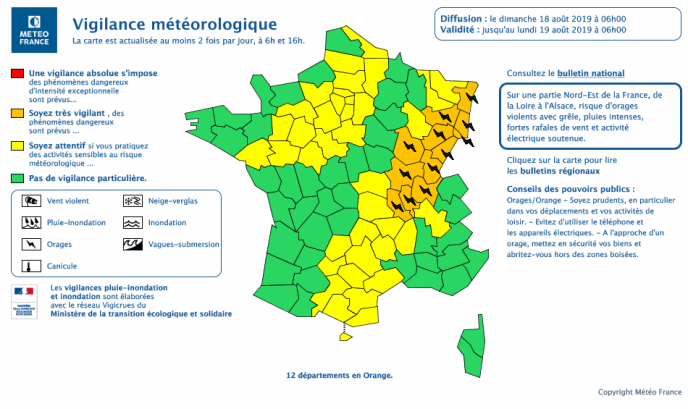 Douze départements de l'est de la France, de la Loire à L'Alsace, ont été placés en vigilance orange en raison d'un risque d'orages « violents », a indiqué Météo-France dimanche dans son bulletin de 6 heures.