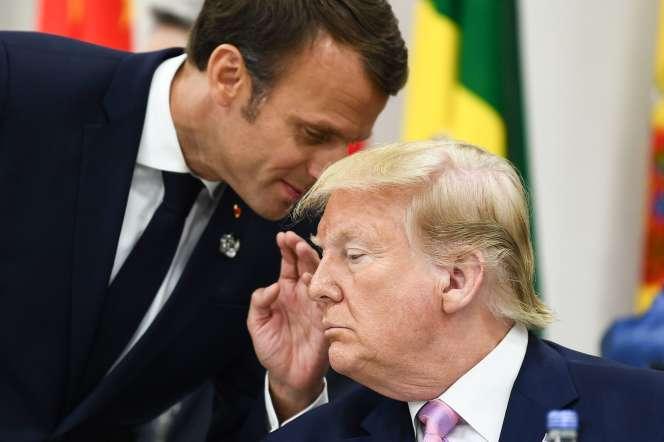 Emmanuel Macron et Donald Trump lors du sommet du G20 à Osaka (Japon), le 26 juillet.
