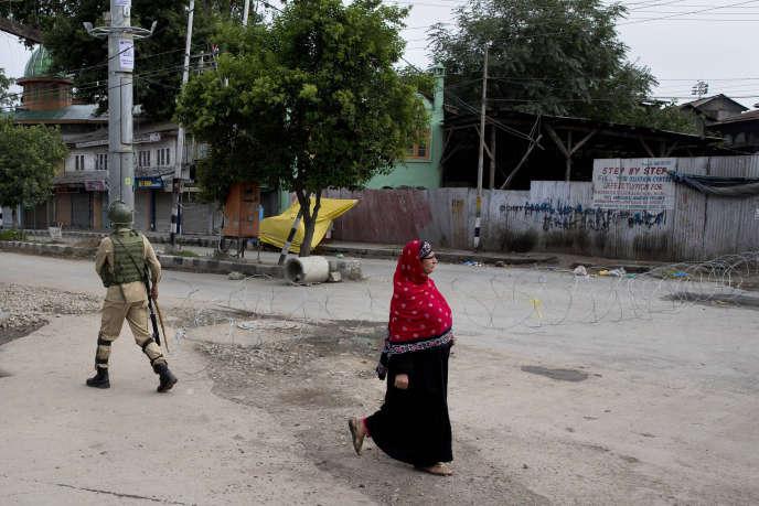 A Srinagar, dans le Cachemire indien, le 18 août.