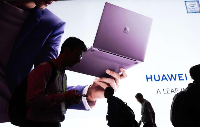 Le stand de Huawei auConsumer Electronics Show de Las Vegas (ouest des Etats-Unis), la grand-messe annuelle de l'électronique mondiale,le 8 janvier.