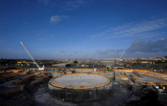 Le chantier de construction de l'EPRd'Hinkley Point (sud-ouest de l'Angleterre), en janvier 2018.