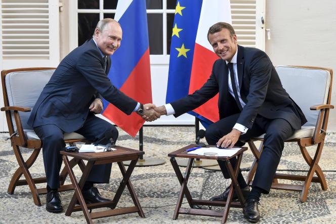 Emmanuel Macron et Vladimir Poutine, lundi 19 août au fort de Brégançon.