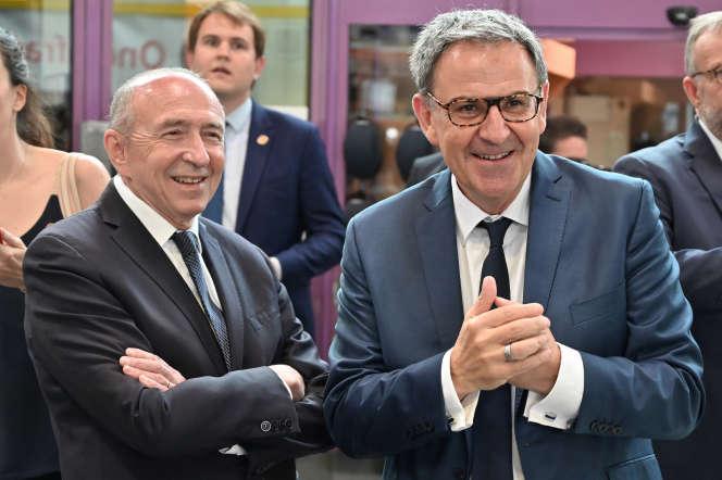 Le maire de Lyon Gérard Collomb (à gauche) avec le président de Lyon métropole David Kimelfeld, à Villeurbanne le 8 juillet.