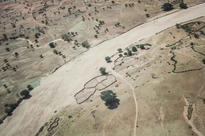 Vue aérienne du ouadi Moura, dans la région du Ouaddaï, au Tchad, en mars 2019.