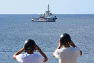 Le navire«Open Arms» au large de Lampedusa (Italie), le 17 août.