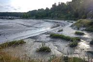 Le chenal envasé de la Rance à marée basse au port du Lyvet à La Vicomte-sur-Rance (Côtes-d'Armor), en août 2017.