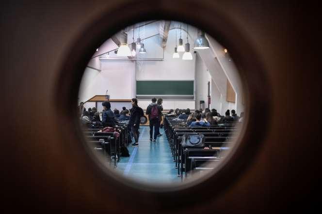 Une salle de classe de l'université Paris-I, en mars 2018.