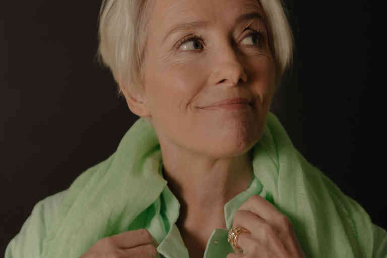 *** SPECIAL FEE APPLIES ***  Actress Emma Thompson in Beverly Hills, Calif., April 5, 2019. All her life, Thompson knew who she was. Now the roles she had embraced -- mother, wife, performer -- have her asking,