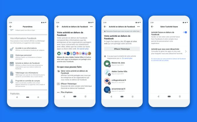 Les menus de l'option« Off-Facebook activity».