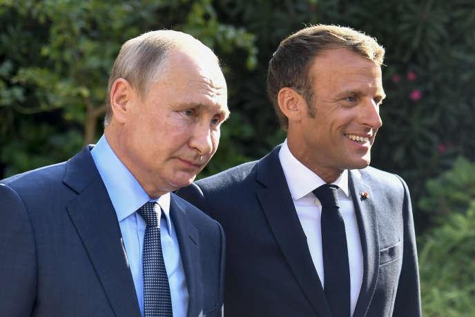 Emmanuel Macron et Vladimir Poutine à Brégançon (Var), le 19 août 2019.