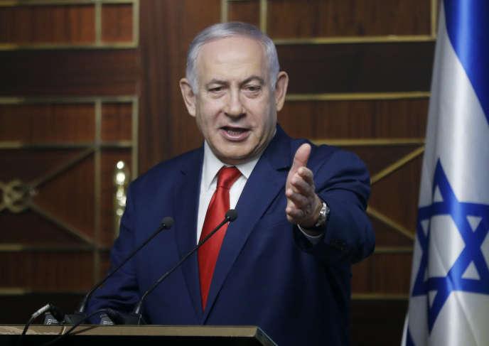 Le premier ministre israélien, Benyamin Nétanyahou, lors d'un discours à Kiev, en Ukraine, le 20 août.