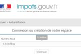 La page de connexion au site des impôts.
