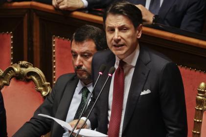 Le président du conseil italien, Guiseppe Conte, a présenté sa démission lors d'un discours au Sénat, mardi 20 août.