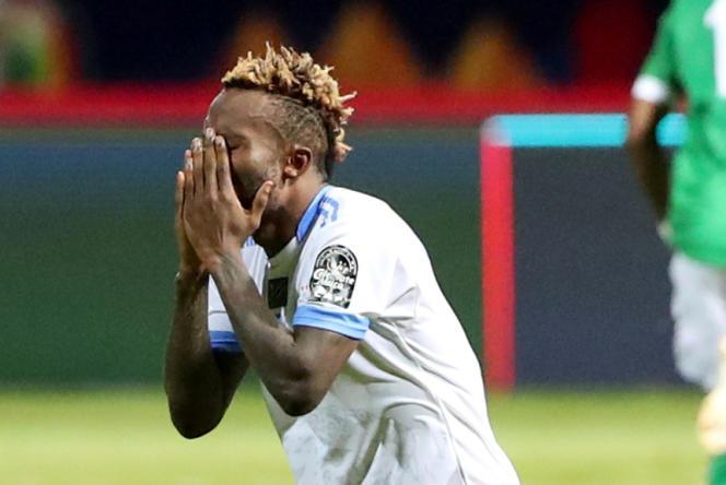 Ngonda Muzinga lors d'un match de Coupe d'Afrique des nations contre Madagascar, à Alexandrie, en Egypte, le 7juillet 2019.