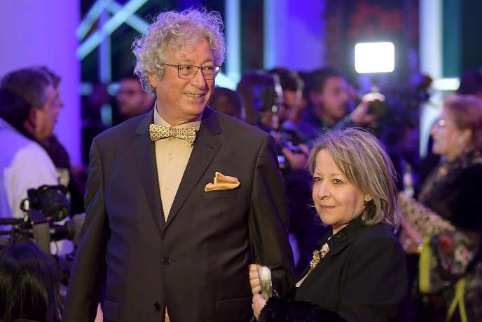 Néjib Ayed et son épouse lors de la cérémonie d'ouverture des Journées cinématographiques de Carthage, à Tunis, le 3novembre 2018.