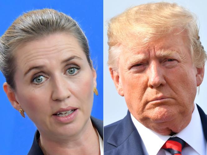 Photomontage montrant la première ministre danoiseMette Frederiksen (à gauche) et le président américain Donald Trump.