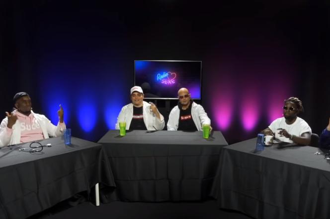 De gauche à droite, les streameurs jeu vidéo Zack Nani, Joey et Kamet0, les rappeurs Al Kpote et Jok'Air, et le youtoubeur Prime.