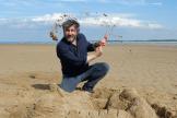 Bruno Podalydès, sur la plage du Douhet, sur l'Ile d'Oléron, le 8 août.