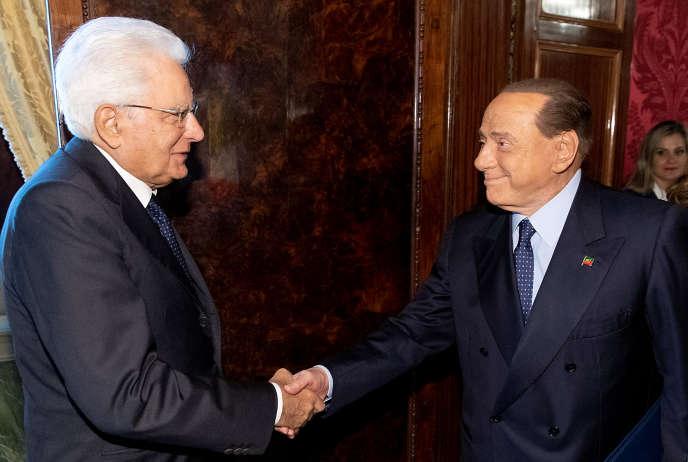 Silvio Berlusconi a été reçu par le président italien, Sergio Mattarella, à Rome, le 22 août.