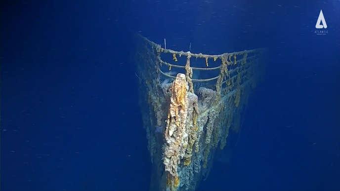 Image diffusée par Atlantic Productions lors de la plongée réalisée auprès de l'épave du« Titanic».