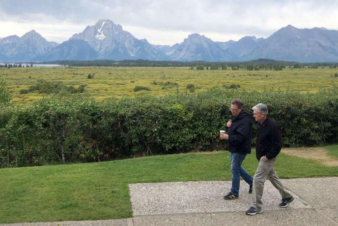 Jerome Powell , président de la Fed, et John Williams, président de la Fed de New York, à Jackson Hole (Wyoming), le 22 août.