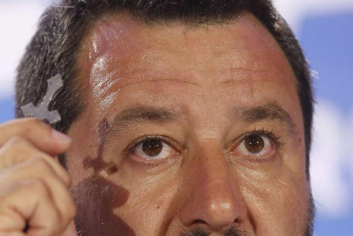 Matteo Salvini lors d'un meeting de la Ligue à Milan, le 27 mai.