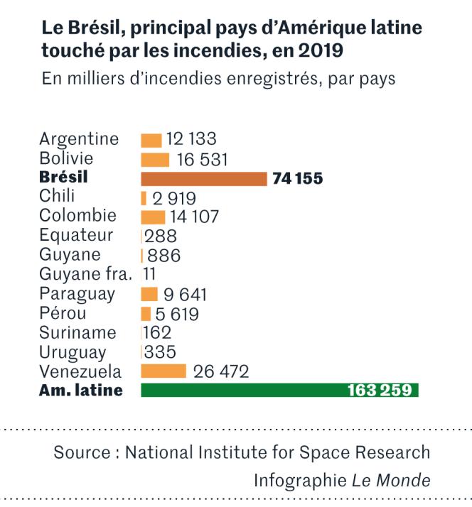 Le Brésil, principal pays d'Amérique latine touché par les incendies en 2019