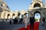 Le président français, Emmanuel Macron, aux côtés du premier ministre indien Narendra Modi dans la cour du château de Chantilly, le 22 août.