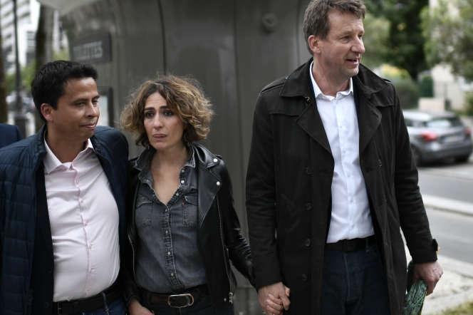 Isabelle Saporta et Yannick Jadot se rendent à un événement de campagne de ce dernier en amont des élections européennes, à Paris le 26 mai.
