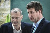 Yannick Jadot (à droite) et David Cormand, le 17mai, à Paris.