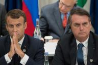 Emmanuel Macron et Jair Bolsonaro à Osaka (Japon), lors du G20, le 28 juin.