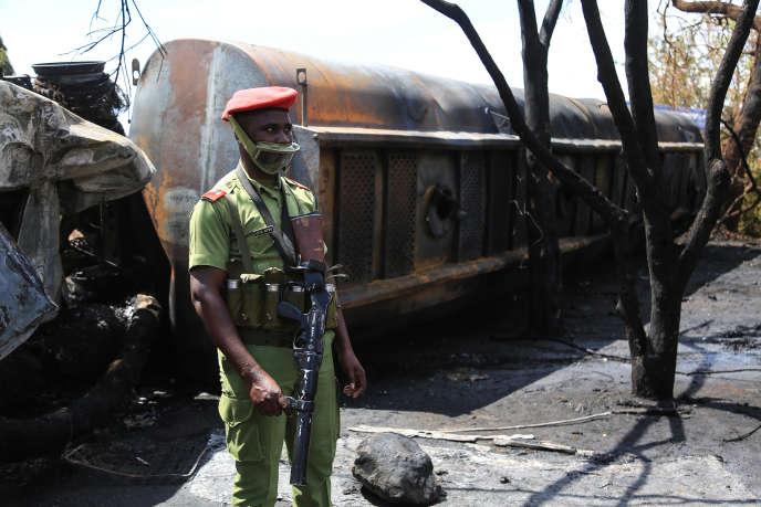 La carcasse du camion-citerne qui a explosé le 10 août 2019 à Morogoro, à quelque 200 kilomètres à l'ouest de Dar es-Salaam.