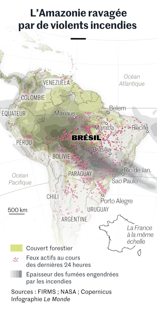 L'Amazonie ravagée par de violents incendies. Carte de situation au 23 août.