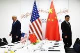 Rencontre entre le président des Etats-Unis Donald Trump et son homologuechinois Xi Jinping, le 29 juin à Osaka (Japon).