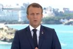 Le président français Emmanuel Macron a prononcé une courte allocution, samedi 24 août, quelque heures avant l'ouverture du sommet du G7, à Biarritz.