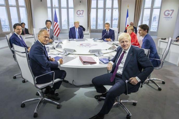 Réunion de chefs d'Etat et de gouvernement du G7 à Biarritz, dimanche 25 août.