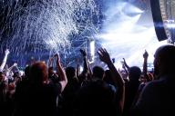 Les festivaliers de Rock en Seine pendant la performance du trio Major Lazer.